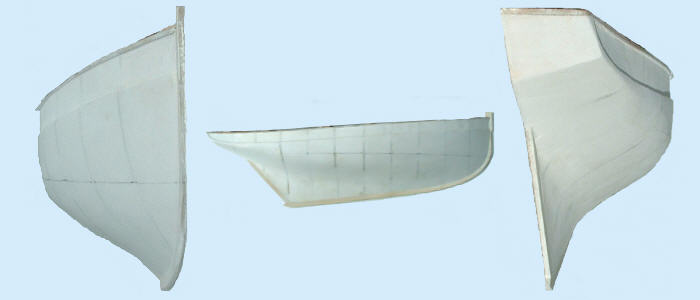 half plaster mould hull bow